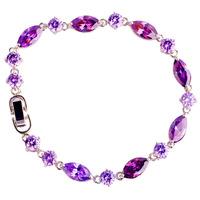 2015 New Fashion Jewelry Purple Amethyst 925 Silver Resplendent Bracelet For Women Free Shipping Wholesale 20 CM