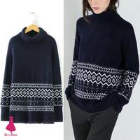 Trendy Ethnic Women Loose Knit Turtleneck Jacquard Geometric Sweater Jumper Top 2015
