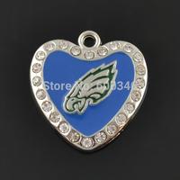 Wholesale One Side Heart Enamel Blue Football Team Logo Philadelphia Eagles Charms With White Crystals