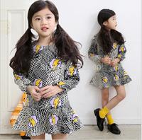 2015 Korea Spring&Fall  Long Sleeve Plaids Cartoon Dresses For Girls Princess Kids Unique Wear , 5 pcslot, Wholesale