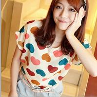 roupas femininas 2015 summer women blouses short sleeve ladies tops chiffon shirt printing t-shirts Plus Size CS114