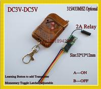 Mini Remote Control Switch DC3V 5V Relay Micro Receiver Transmitter 3.6V 3.7V 4.2V 4.5V 5V Small LED Wireless Switches 315/433