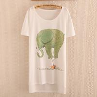 2015 T Shirt Women's T-shirt Short Sleeve Fashion Lady Tees Cotton Cartoon O-neck Tops Tee