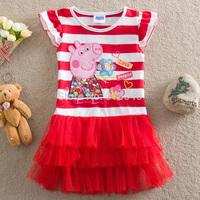 Free shipping 5pcs/lot baby peppa pig dress girls short sleeve stripe cartoon dress girl European American causal dress 2-6year