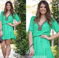 Vestidos Casual Free Shipping  Vestidos 2015 Women Dress Models Sleeve V-neck Chiffon Fashion Summer Vestido De Noiva