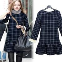 2015 women's elegant all-match fashion plaid slim long-sleeve autumn one-piece dress female free shipping