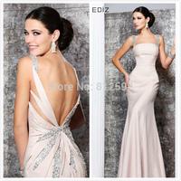 Sexy Square Neck Cap Sleeve Sequins Beading Back Flowering Hollow Design Mermaid Long Evening Dress Prom Dresses 2015 Tarik Ediz