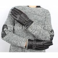 Women Genuine Wool Leather Driving Gloves Belt Deco Thicken Mittens Warm Winter