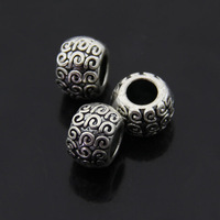 Free shipping 50pcs/lot Alloy loose beads Metal Necklace Pendant  Antique silver plated beads with big hole 8*10mm round beads