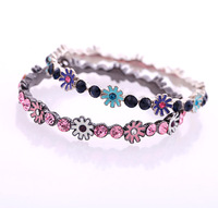 rhinestone pink blue floral enamel kawaii kid children boho beach bangle bracelet high fashion