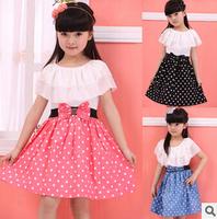 Retail 2015 new fashion girls summer dresses Baby Kids Children's Lovely princess Two Tones Splicing Polka Dots Dress Q19