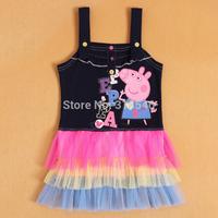 free shipping 5pcs baby girls peppa pig dress girls lace cake dress girls summer cartoon tutu dress