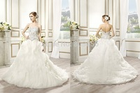 Elegant 2015 A-Line Wedding Dress Ball Gown Layers Sweetheart Embroidery Curved Open Back Bridal Gowns Women Skirt V008