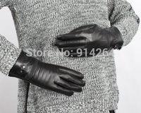 Black Women's Embossed Driving Gloves Thicken Mitten Wool Genuine Leather Glove