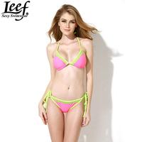 Sexy Bikini 2015 Women's Fashion Swimwears Triangle Neoprene Neon Bikini Women Bandage Sexy Lace Swimsuit Push Up Bikini Sets