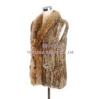 BG30434 Women's Rabbit Fur Vest Raccoon Fur Collar Vertical Stripes Knitted Waistcoat Long Style Lightweight Soft  Fit For Lady