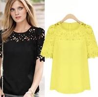2015 New Women Hollow Out Patchwork Lace Blouses blusas com renda Short Sleeve Shirts Women Chiffon blouse Plus Size Tops