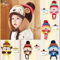 Infants Baby Handmade Cartoon Monkey Crochet Earflap Hat Beanie Cap Warmer Freeshipping