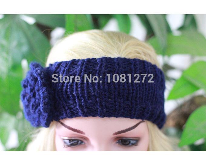 One Flower Dark blue Knit Headband, Headband,Earwarmer,Hair Accessory,Head wrap,headband pattern,Fall and winter hair accessory(China (Mainland))
