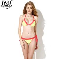 LEEF Bandeau Swimwear Women Sexy Triangle Bikini Push Up Swimsuit Solid Color Lace Bikinis Set Beachwear Bathing Suit Wholesale