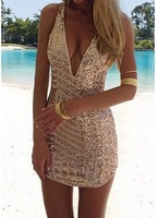2015 New European Fashion Style Sexy Plunging Neck Sleeveless Sequined Bodycon Dress For Women Deep V Sheath Club Party Dress