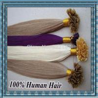 18 Inch (45cm) 0.5g/s 100s/lot 50gram Nail Tip Hair Extensions Keratin U Tip Natural Hair #01 #02 #04 #06 #08 #10 #12 #16 #1B 24