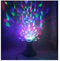 Rotate Lotus Lotos Flower Crystal LED RGB Disco KTV Lighting DJ Bar Light Christmas Party Holiday Lamp Desk Table Lights Lamps