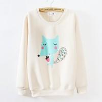 [Magic] 2015 new women's cotton hoodies fleece inside good quality cartoon Embroidery fox casual sweatshirt free shipping
