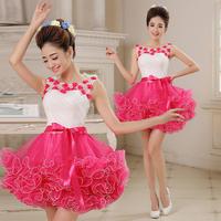 Costume bridesmaid short design puff skirt fashion dress puff skirt short formal dress female