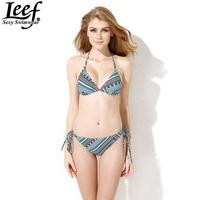 LEEF 2015 Women Triangl Biquinis Swimwear Sexy Printed Bikini Set Biquini Hot Summer Sexy Swimsuit Ladies Swim Suit Wholesale