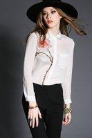Free shipping 2015 spring fashion gentlewomen turn-down collar red one flower silk shirt tops t2746 ladies blouse shirt va1840