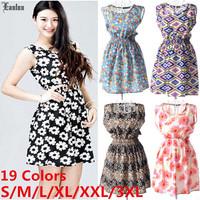 Lanluu New Womens Floral Print Chiffon Dresses Elastic Waist 2015 Saias Femininas Summer Vestidos SQ1161