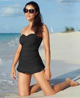 Brand New Bandeau Halter One Piece Swimwear Ruffle Swimdress with Skirts Black Pink