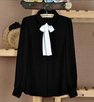 2015 new style fashion bowknot doll collar long sleeve blusas femininas black blouse for women DQ006