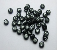 White in Black Acrylic Assorted Alphabet Letter Coin Beads 4X7mm, sold per packet of 500 pcs c-24