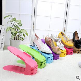 Bottom Price! 1PC High Quality Bilevel Foldable Shoe Rack Simple Plastic Adjustable Storage Shoe Shelf 8 Colors Free Shipping(China (Mainland))