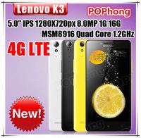 Lenovo K3 5 inch 1280*720 Android Phone 16GB 4G LTE Qualcomm MSM8916 Quad Core 1GB RAM