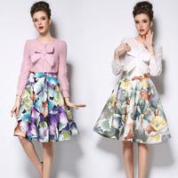 Free shipping 2015 Retro Hepburn Floral Print Skirt Pleated  Knee Length  Ball Gown Midi Swing Skirt
