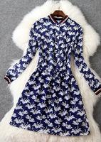 Free ship 2015 spring pattern stand collar wrist-length sleeve slim silk women dress t2755 casual dress wholesale va1847