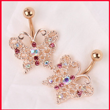 Gold belly navel piercing Barbell Butterfly body piercing jewelry crystal dangle Surgical Steel belly rings navel bars Cute