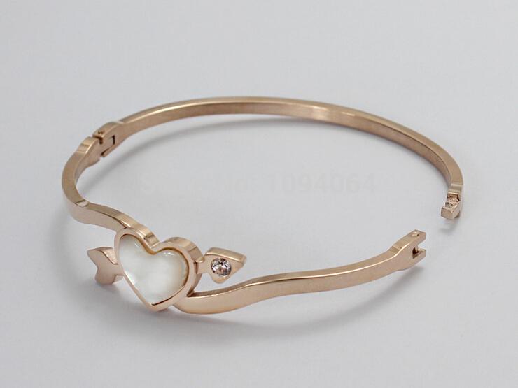 Heart Cupid Bracelets for Women Rose Gold Plated Bracelet New Classic Shell Bracelets Bangles Valentines Gift