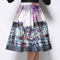 Free shipping 2015 Retro Hepburn Fashion Landscape Building Print Skirt Pleated  Knee Length  Ball Gown Midi Swing Skirt