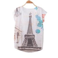 FS-3009 New Arrival 2015 Summer Batw Sleeve Women's Tops Eiffel Tower printing T Shirt for women