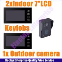2x indoor Monitor+1x outdoor Camera,,Waterproof 7 inch 1/3 Color LCD Touch Key Wired Video Door Phone Doorbell Intercom System