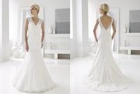 2015 Lace Mermaid Wedding Dresses Straps Beaded V-Neck Bridal Gowns Sweep Train Deep V-Back Zipper ForWomen V042