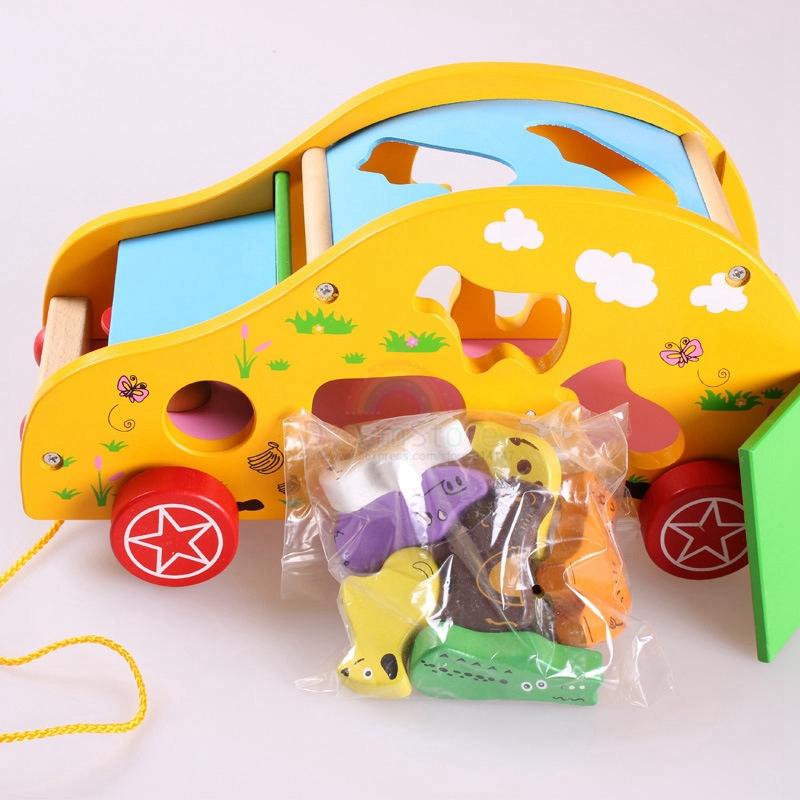 Free Shipping, Wooden Toys, Children's Intelligence Toys, Animal Trailer, Shape Of Hole Animal Matching Blocks(China (Mainland))