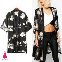 2015 New Women Spring Summer Vintage Fog Floral Print Chiffon Long Split Kimono Cardigan Shirt Blouse Top Black New Arrivals