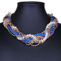 2015 New Fashion Women Bib Collar Chokers  Necklaces Pearl Jewelry Statement Necklaces Chunky Chain DFX-749