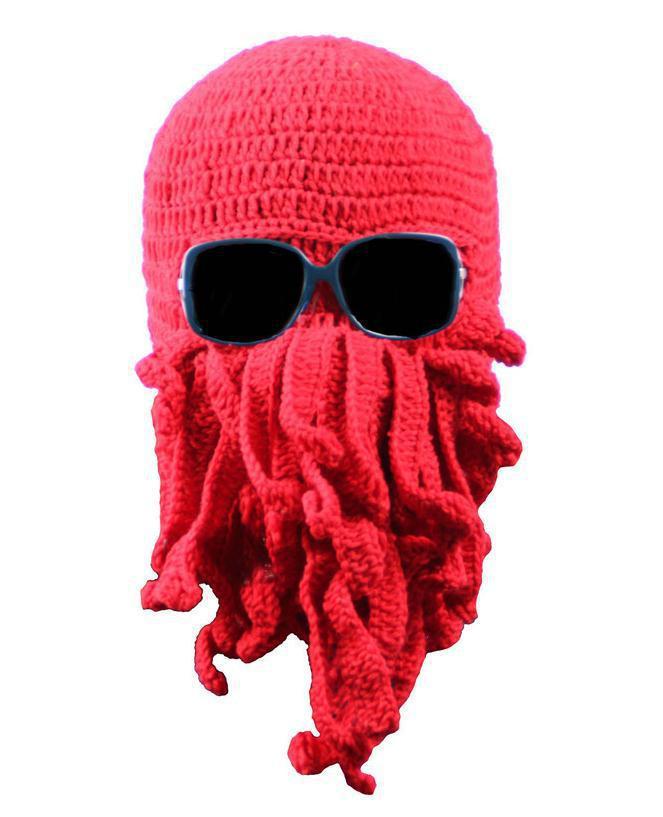 4 colors New 2015 Novelty Handmade Knitting Wool Funny Beard Winter Octopus Hats&caps Crochet Beanies Unisex Gift.Free Shipping(China (Mainland))