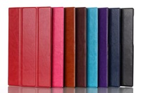 10pcs/lot,Luxury Crazy Horse Grain Magnetic Closure Tri-Fold Smart Leather Case Cover Stand for Asus Memo Pad 7 ME572C ME572CL
